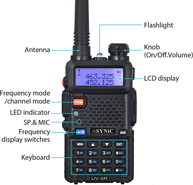 eSynic UV-5R Walkie Talkie 128 Canales VOX 400MHz-480MHz VHF//UHF Banda Dual con Pantalla LED de Memoria con Explosi/ón Parpadeo de Alarma Soporta VOX para Sitio de Construcci/ón Hotel Adventure