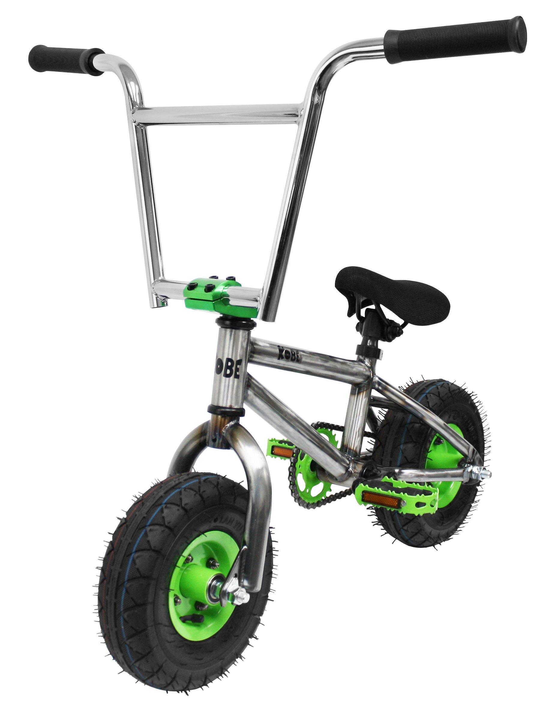 Kobe ''Rusty Rat Rod'' Mini BMX - Raw + Green - Freestyle, Trick, Stunt Bicycle 10'' Wheels