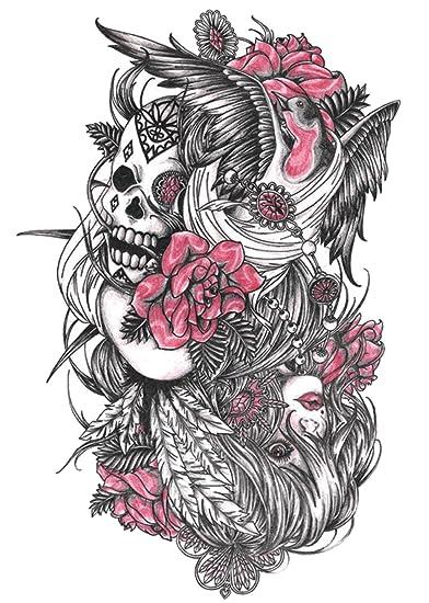 Amazoncom Skull Rose Large 825 Half Sleeve Arm Tattoo Tramp