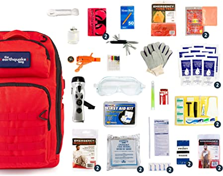 Equipped with 72 hrs of Food Disaster Preparedness Supplies Flood Fire Water /& Shelter Bug Out Bag for Earthquake Hurricane 4 Person Deluxe Family Emergency Survival Bag//Kit