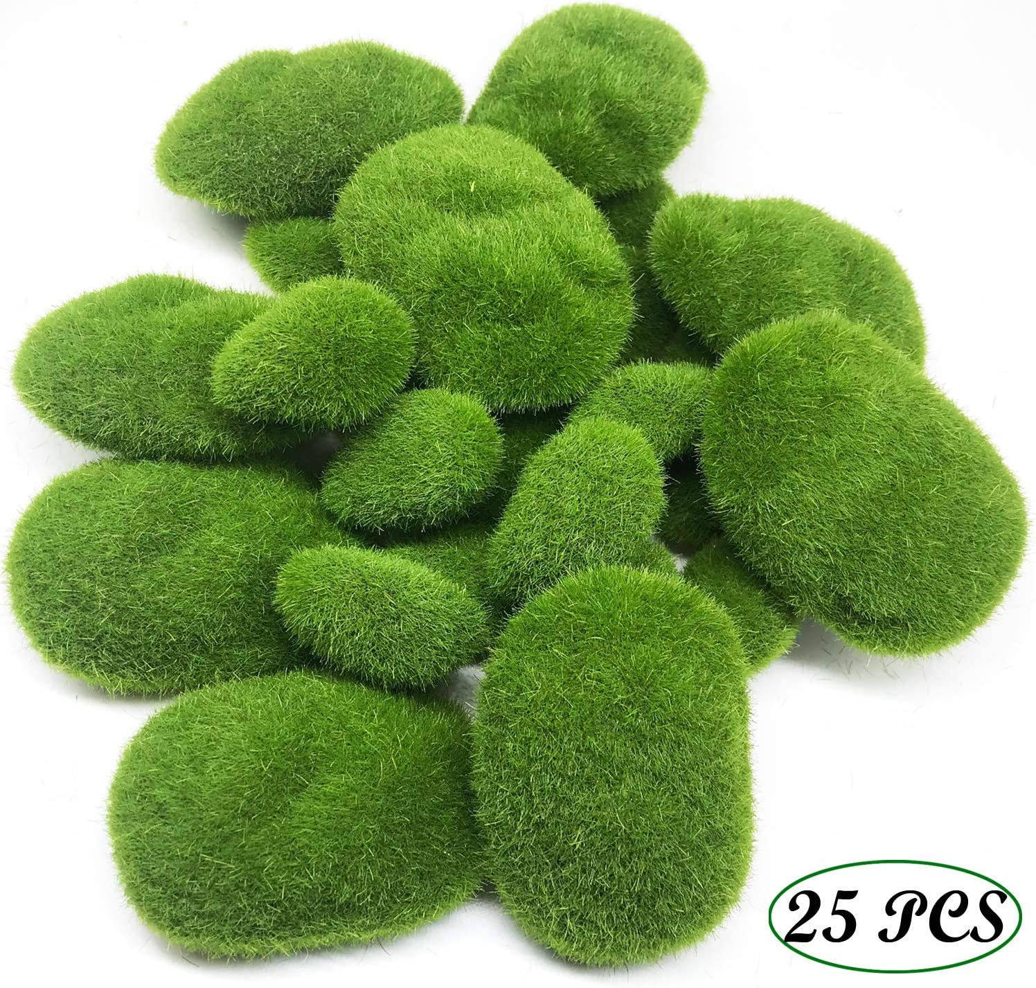 Fake Moss Decor for Floral Arrangements 30-3 Size Woohome 30 PCS 3 Size Artificial Moss Rocks Decorative Fairy Gardens and Crafting Green Moss Balls