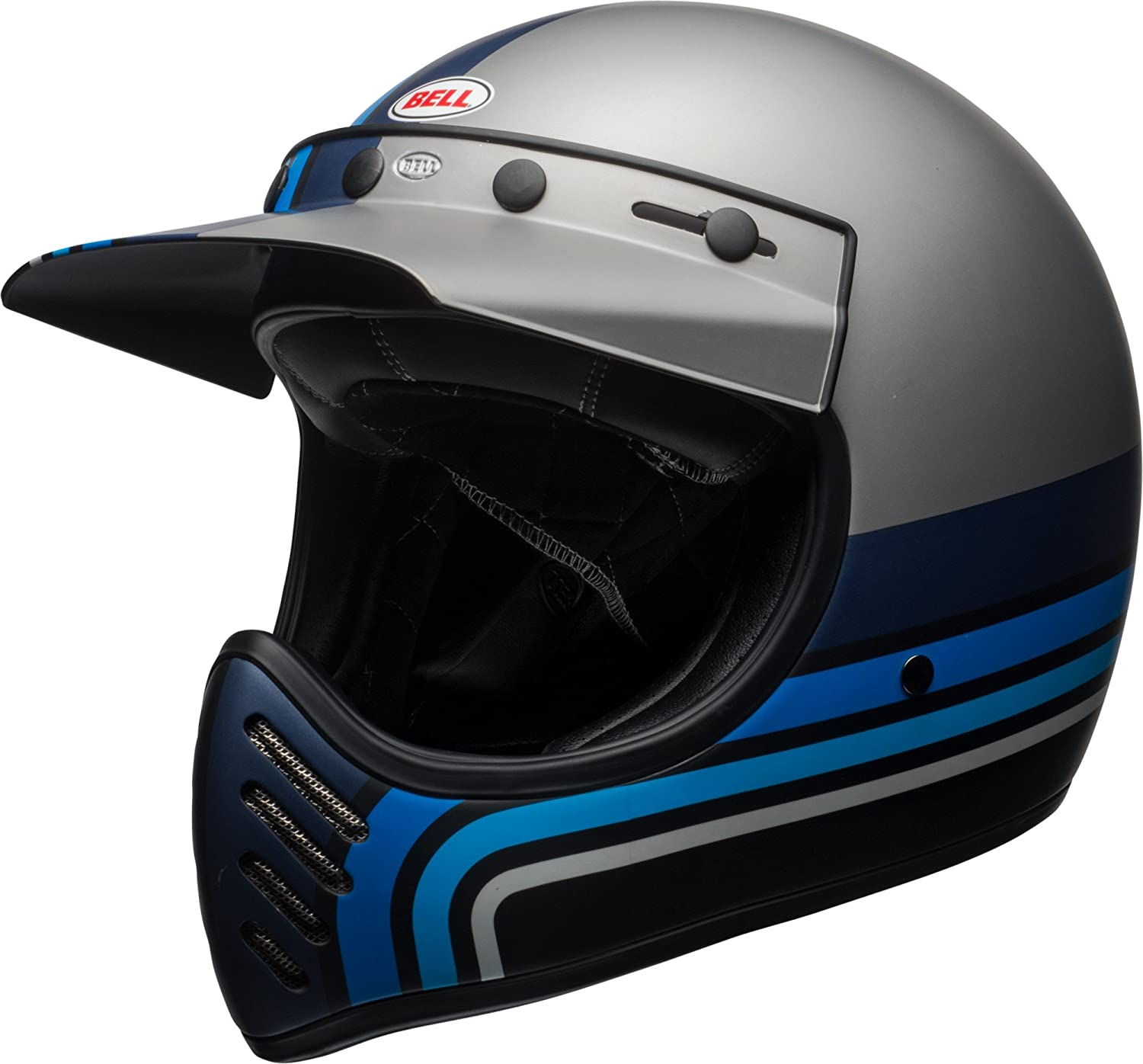 Amazon.com: Bell Moto-3 Off-Road Motorcycle Helmet (Matte Silver/Black/Blue Stripes, Medium): Automotive
