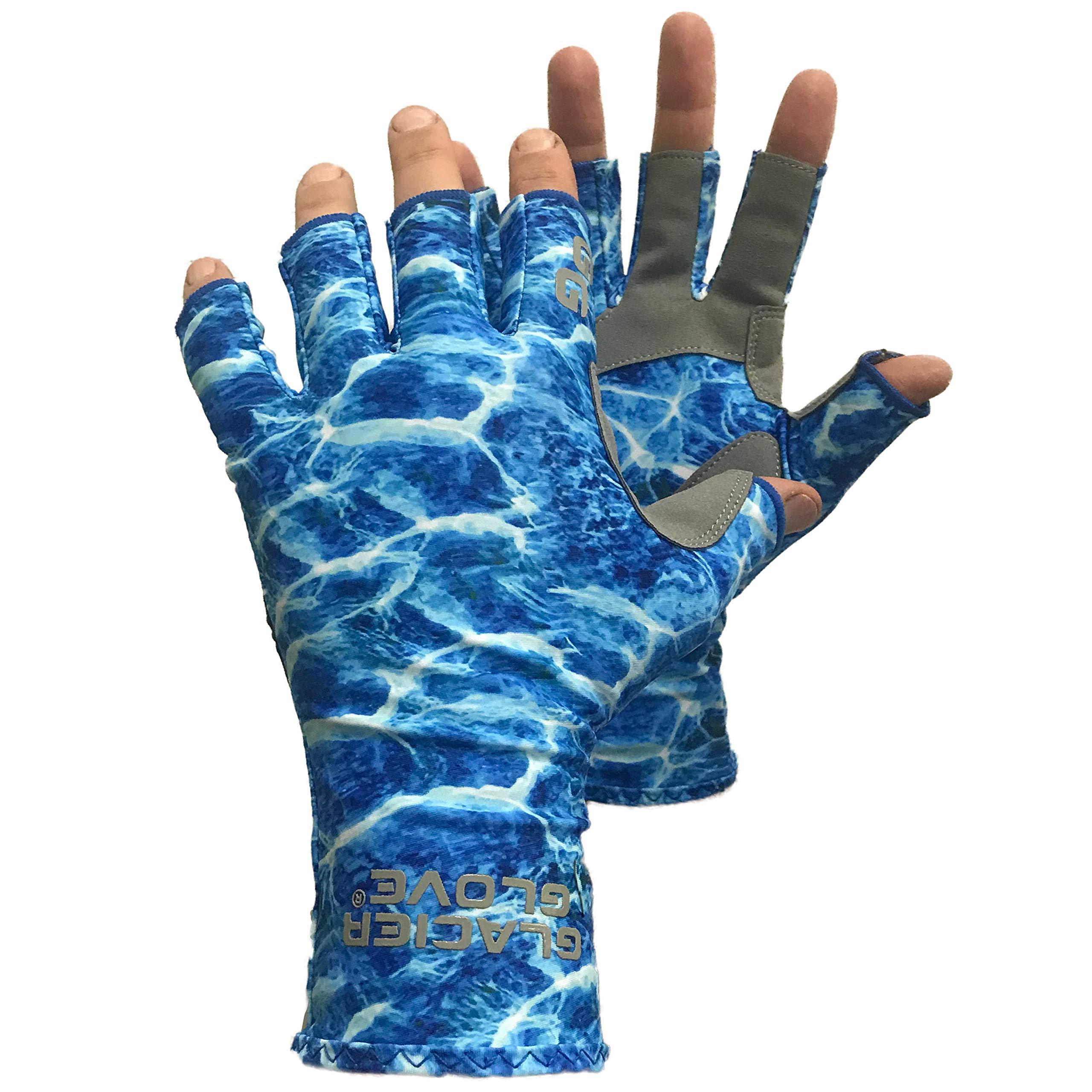 Glacier Glove Fingerless Islamorada Sun Glove, Blue Camo, X-Large by Glacier Glove