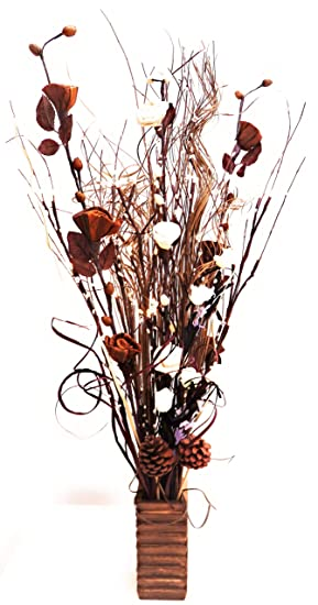 Twig Light Bouquet In Wood Vases With Artificial Flowers Grasses