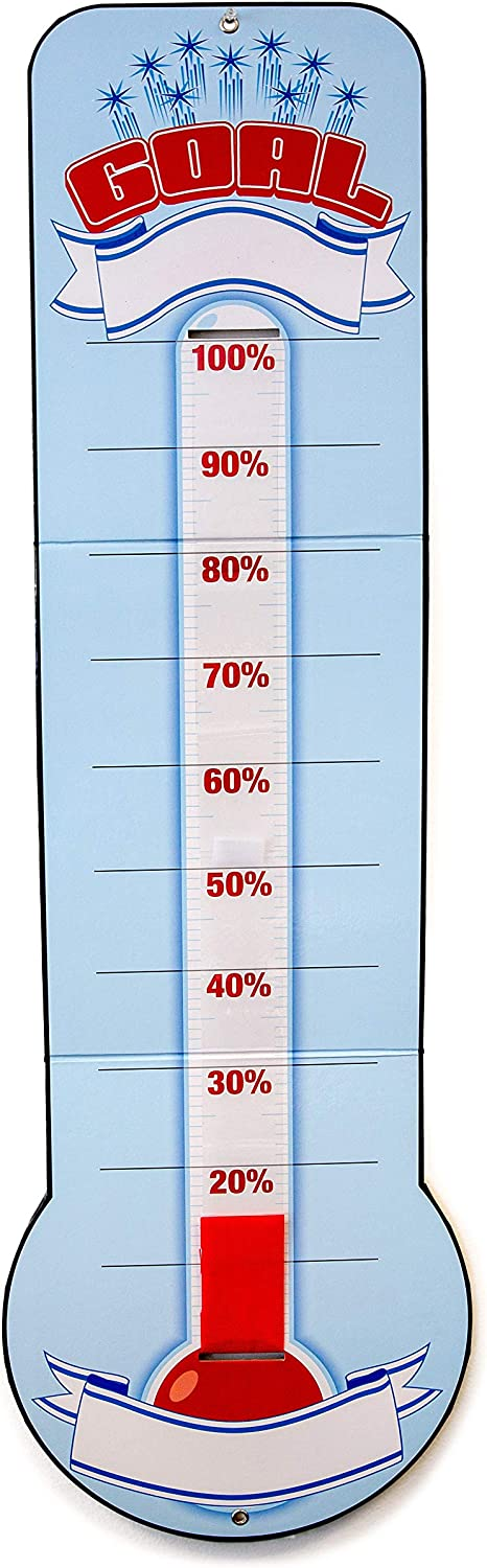 """Goal Setting Thermometer Chart – Reusable Dry Erase Goal Chart with Adjustable Goal Tracking Red Ribbon, Tri-Folds for Easy Storage – 48"""" x 11"""" with Hanging Grommet Holes"""