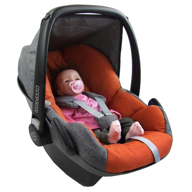 Bambiniwelt Ersatzbezug Für Maxi Cosi Pebble 5 Tlg Bezug Für Babyschale Komplett Set Grau Orange Xx Baby