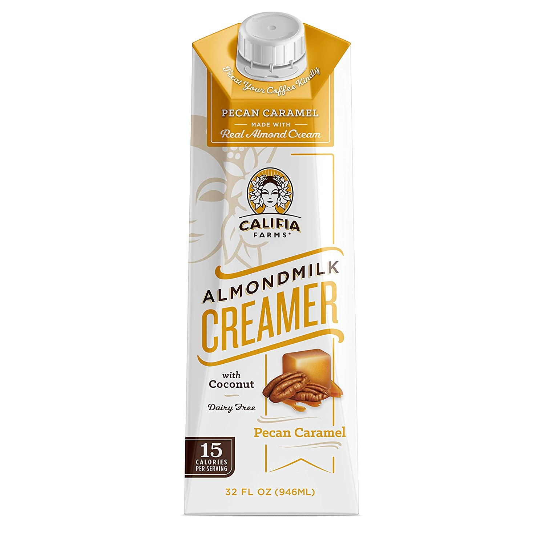 Califia Farms - Pecan Caramel Almond Milk Coffee Creamer with Coconut Cream, 32 Oz (Pack of 6) | Non Dairy | Plant Based | Vegan | Non-GMO | Shelf Stable