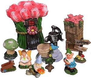 Miniature Fairy Garden - Tulip House, Hand Water Pump, Gnomes, Mushroom, Fairy - 10 Piece Starter Set - TULIPIA Community