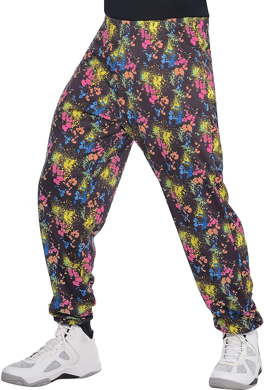 80s Mens Jeans, Pants, Parachute, Tracksuits amscan 80s Neon Muscle Pants for Men Halloween Costume Accessory with Paint-Splatter Print $24.99 AT vintagedancer.com