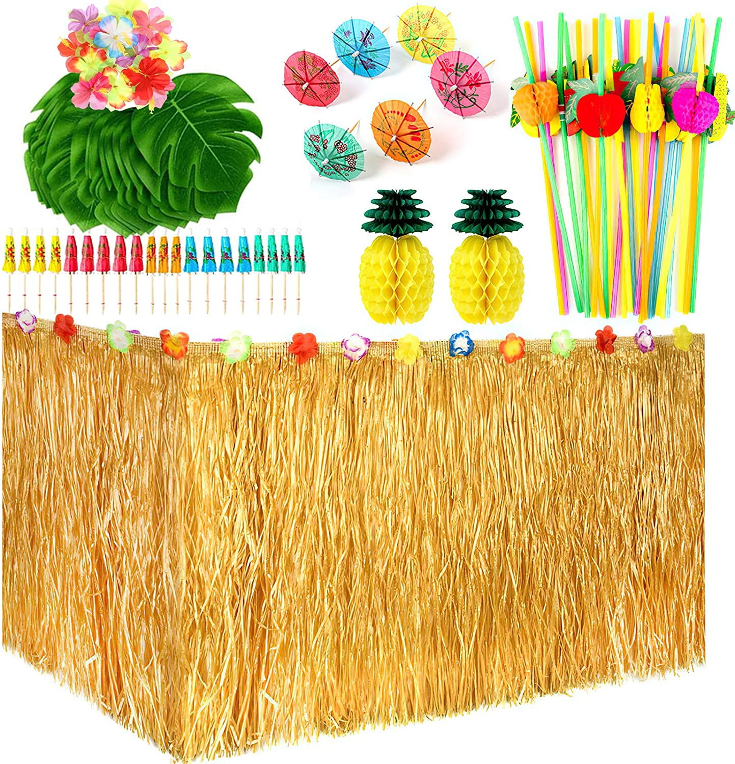 Hawaiian Tropical Party Decoration Set with 9feet Hawaiian Luau Grass Table Skirt, Hibiscus Flowers, Palm Leaves, Paper Pineapple, Umbrella Food Toppers and 3D Fruit Straws Luau Party Supplies