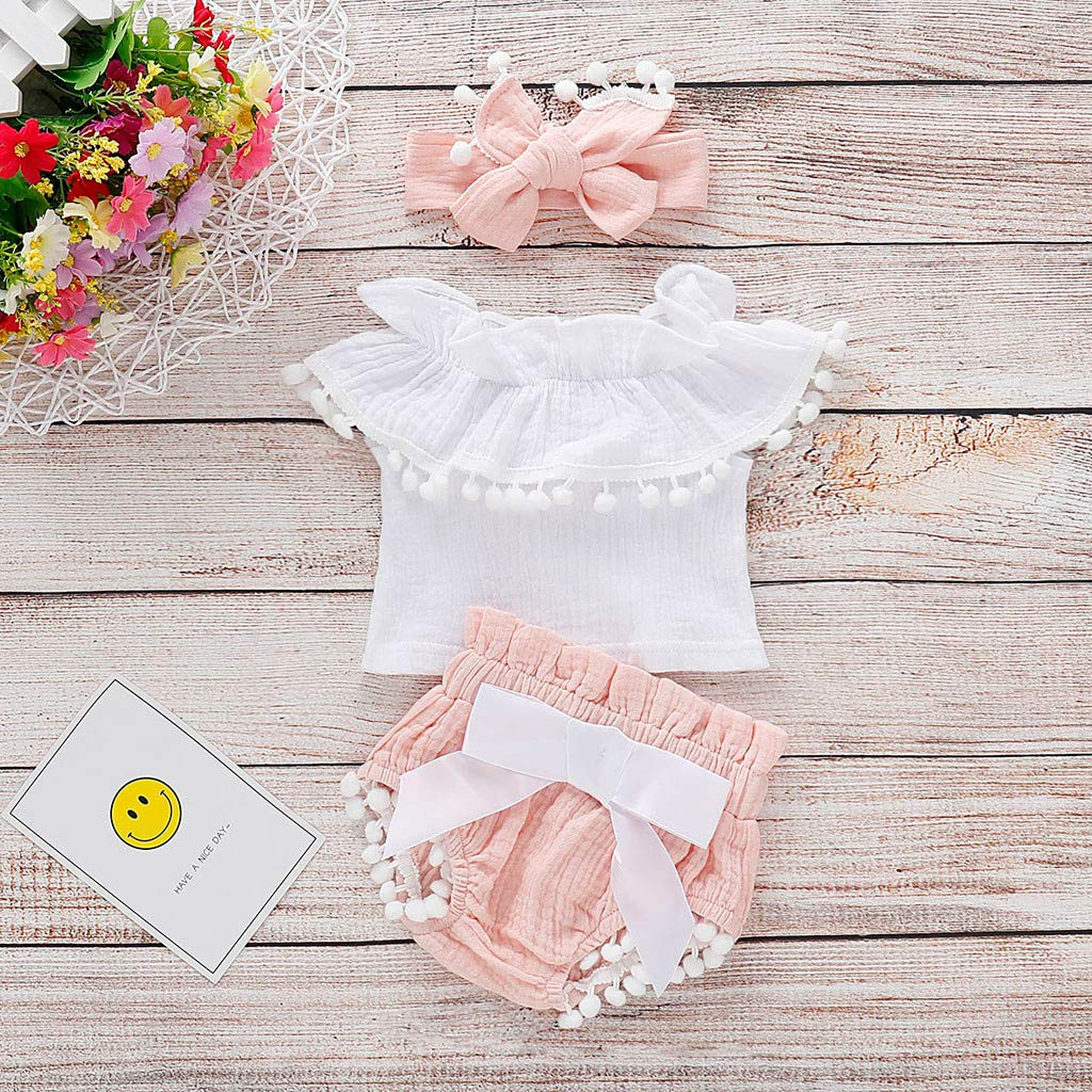 Huarll Summer Clothes for Baby Girl Summer Outfit for Toddler Girl Tassle Ruffled Sleeve Tops Denim Shorts+Headband