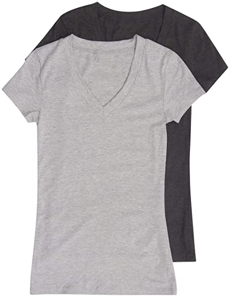 bd25a5403 Amazon.com: 2 Pack Zenana Women's Basic V-Neck T-Shirts: Clothing