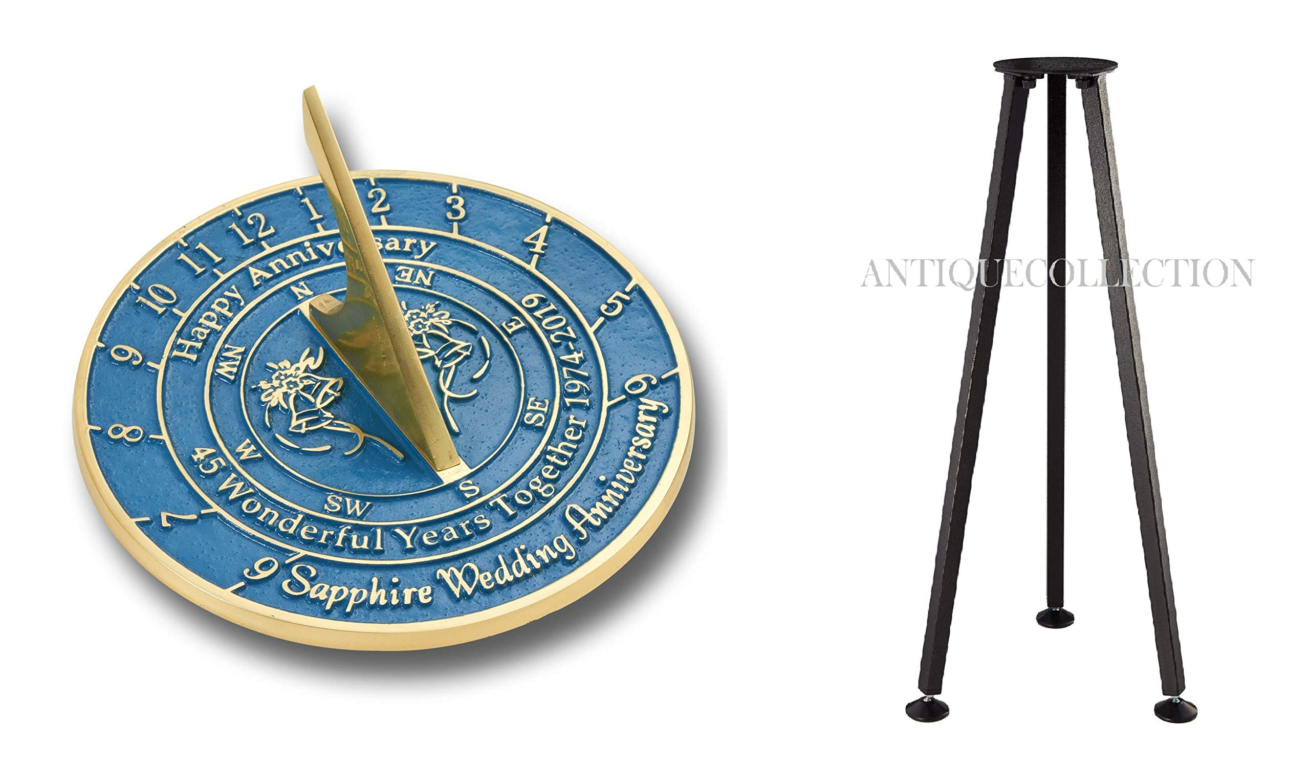 ANTIQUECOLLECTION 45th Sapphire Wedding Anniversary Sundial Gift with Stand