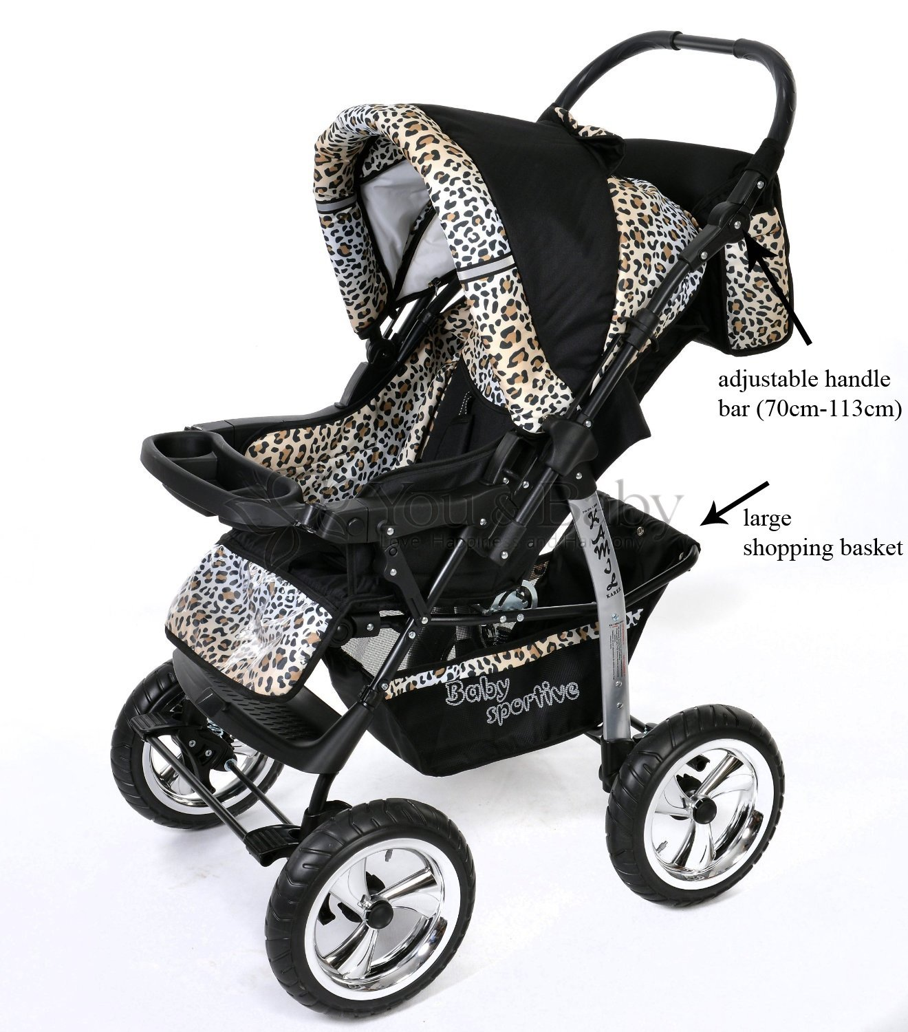 3 In 1 Travel System With Baby Pram Car Seat Pushchair Accessories Black Leopard Amazoncouk