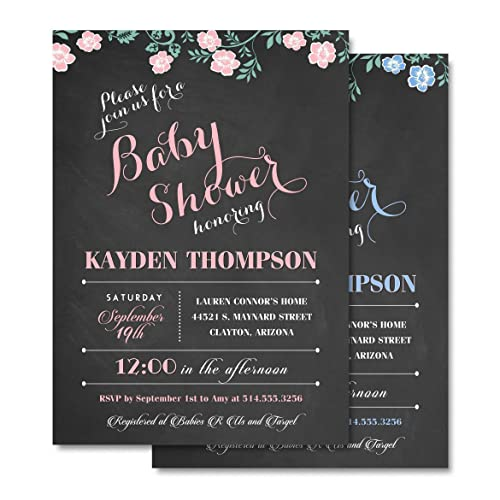 chalkboard baby shower invitation boy or girl floral baby shower invitation chalkboard baby shower