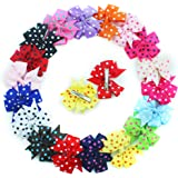 "18 Pcs Colors Boutique Girls 3"" Polka Dot Grosgrain Ribbon Pinwheel Children Hair Bow Clips Girls Hair Clips"