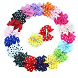 "Amazon Price History for:18 Pcs Colors Boutique Girls 3"" Polka Dot Grosgrain Ribbon Pinwheel Children Hair Bow Clips Girls Hair Clips"
