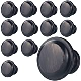 "WELLOCKS Cabinet Knob 12 Pack Oil Rubbed Bronze, Heavy Duty Drawer Pulls 1.37"" Diameter, Zinc Alloy Cabinet Hardware for Offi"