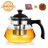 OG Kitchen Glass Teapot with Infuser – 34 Oz Stovetop Safe Borosilicate Glass Tea Pot – Plastic Handle & Stainless Steel Filter for Blooming & Loose Leaf Tea – FREE Microfiber Cloth & Silicone Coaster – Tea Maker Brewer & Steeper – Also Works For Cold Brew & Fruit Infusion