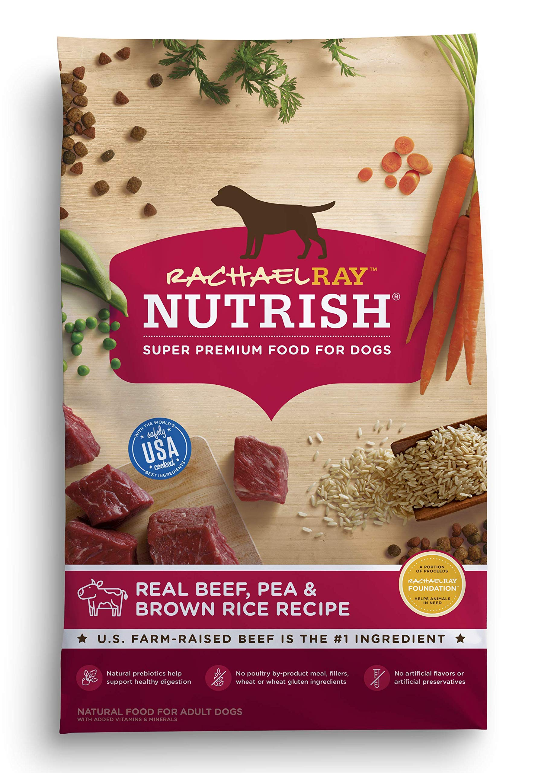 Rachael Ray Nutrish Real Beef, Pea & Brown Rice Recipe Dry Dog Food, 40 Pounds by Rachael Ray Nutrish