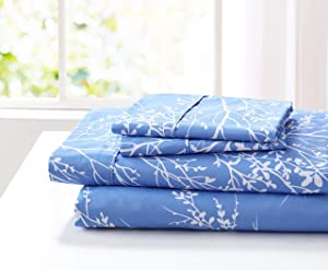 SL Spirit Linen Home EST. 1988 Foliage Collection Bed Sheet Set- Ultra Soft, Lightweight & Breathable Fabrics, Double Brushed Microfiber for Added Softness, Queen, Light Blue White