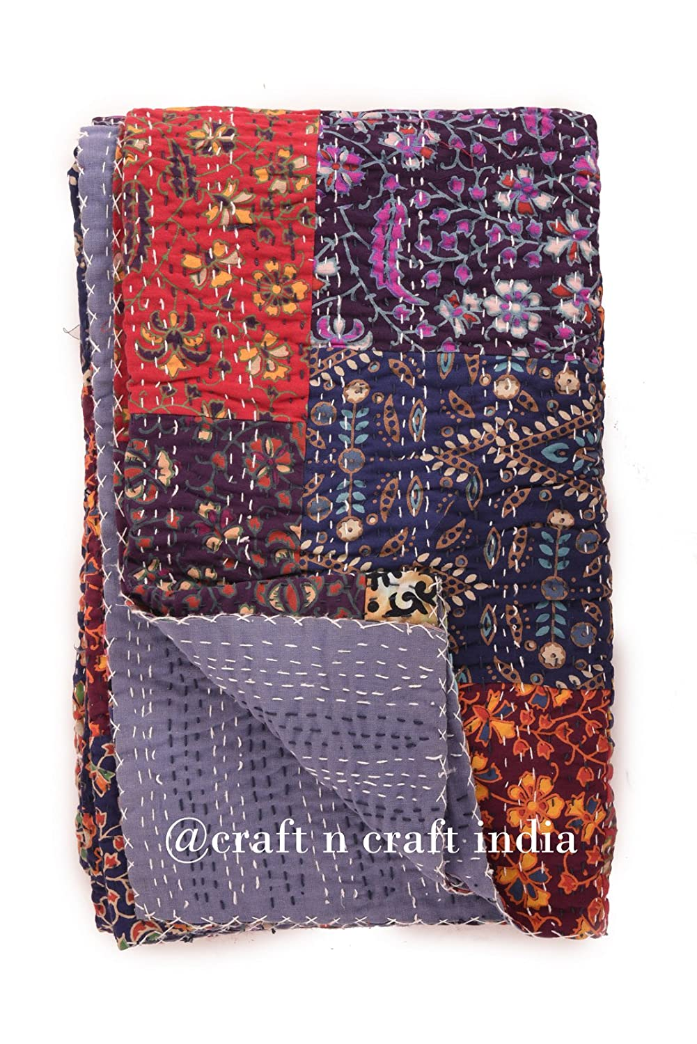 Craft N Craft India Mandala Tapestry Patchwork quilt Twin Size Kantha Quilt, Kantha Blanket, Bed Cover, Twin Kantha bedspread, Bohemian Bedding Kantha Size 60 Inch x 90 Inch (Multi-1) (Multi-1)