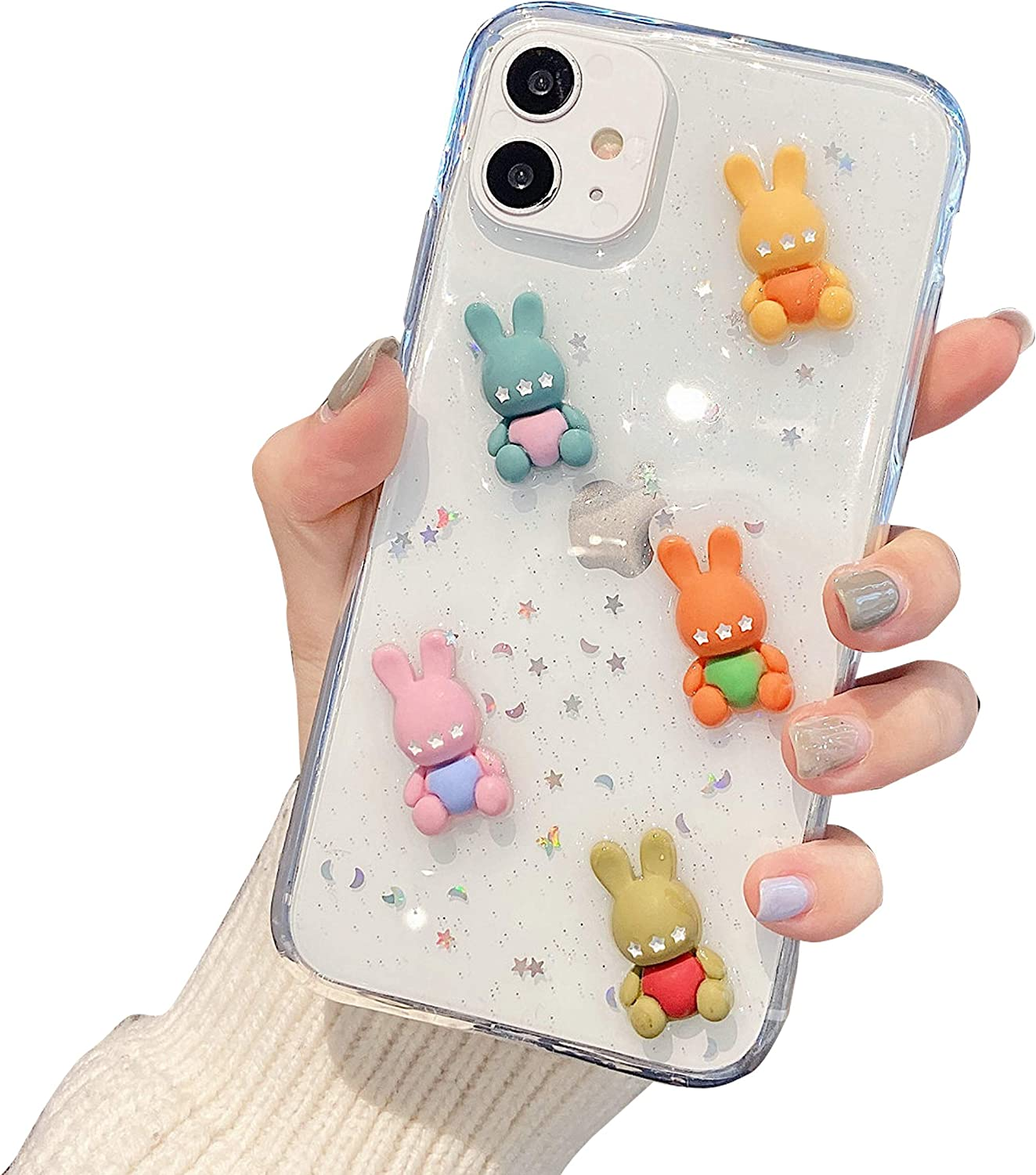DOMIDO 3D Clear Case Compatible with iPhone 12/12 Pro Cute Cartoon Rabbits Funny Creative Ice Cream Cake Food Cover Girls Glitter Soft Rubber Case for iPhone 12/12 Pro(5 Bears)