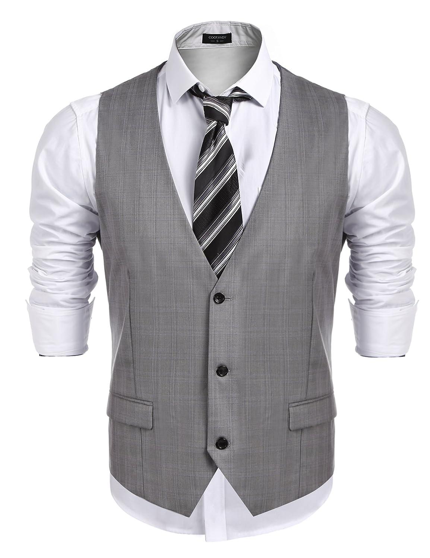 COOFANDY Men's Business Suit Vest,Slim Fit Skinny Wedding Waistcoat 11210704