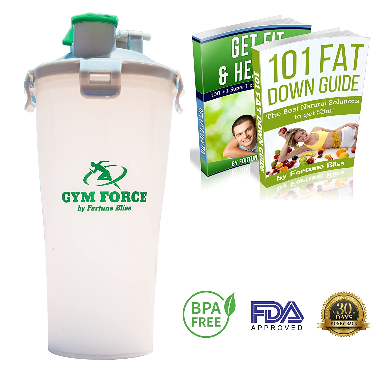 e74dd43ce9 Amazon.com: BPA Free Water Bottle My Hydrate Dual Cup on Shaker Team Sports  Big 20-28 oz Best For Protein in Gym Bottles (White-Silver-Green 1 Piece):  ...