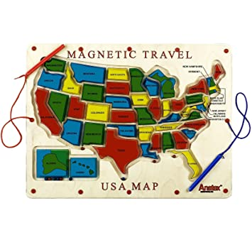 Amazoncom Anatex Magnetic Travel USA Map Toys Games