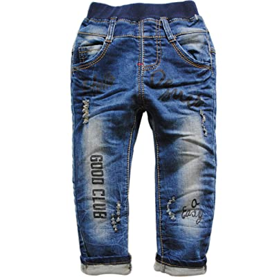 3764 casual pants trousers baby girls boys child jeans kids soft navy blue