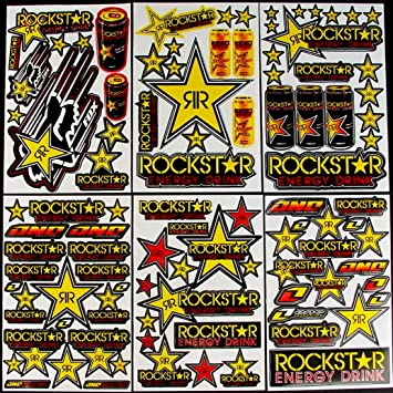Rockstar Energy Drink Graphic Sticker Decal 1 Sheet RE001 Yellow//Red.