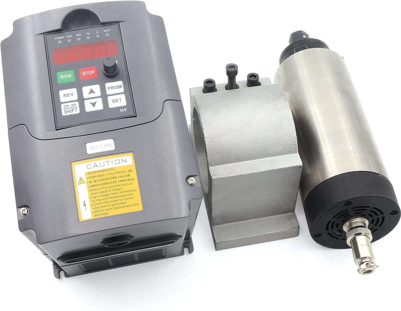 1.5KW 220V CNC Air Cooled Spindle Motor ER16 + 1.5KW VFD Inverter Variable Frequency Drive 220V + 80mm Clamp Mount Bracket for CNC Router Engraving Milling Machine