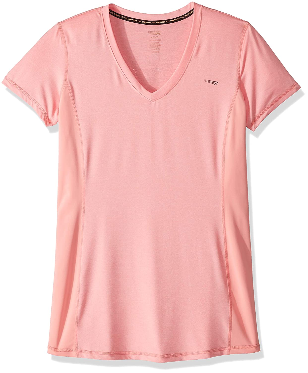 e44f251aa5 Amazon.com: Copper Fit Women's Comfort Compression Side Panel Vneck Tee:  Clothing