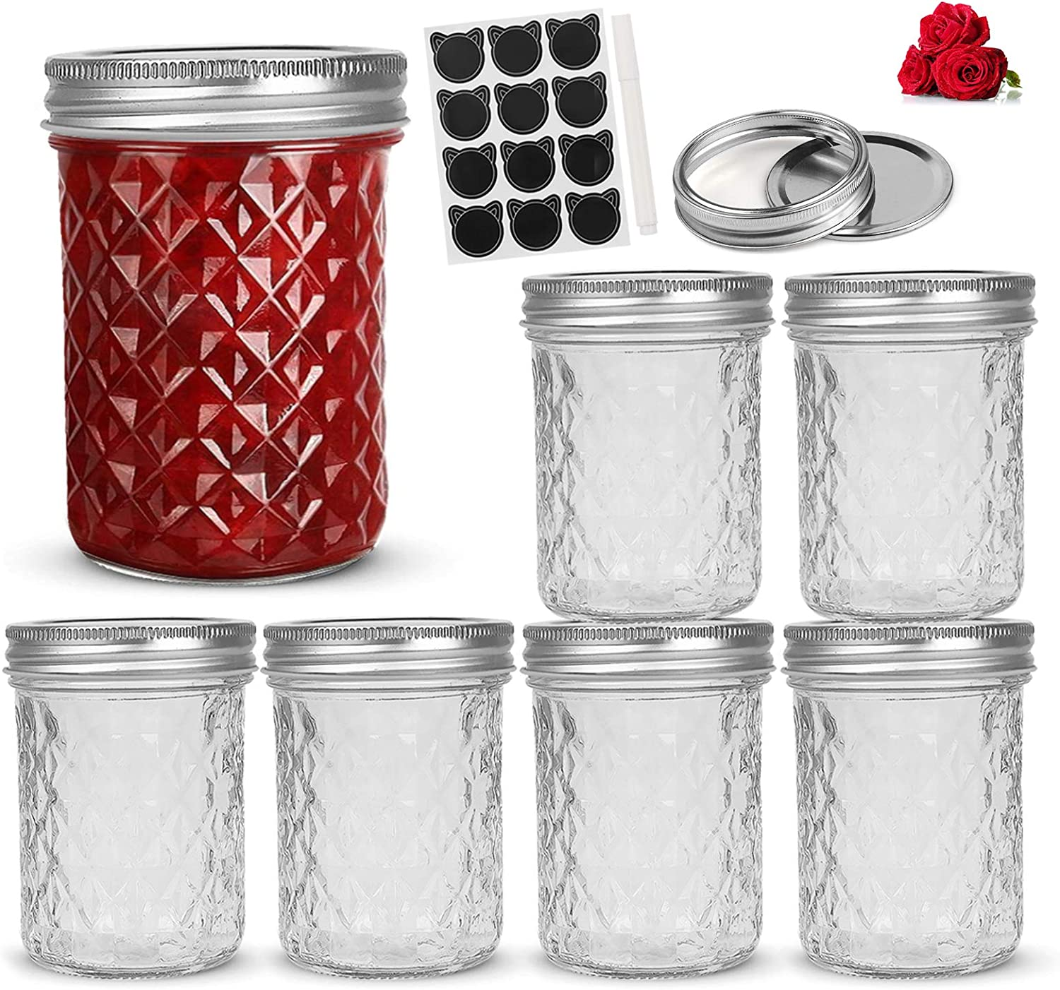 LovoIn 6 PACK 16oz Wide Mouth Mason Jars with Lids and Bands, Glass Canning Jars Ideal for Food Storage, Jam, Body Butters, Jelly, Wedding Favors, Baby Foods