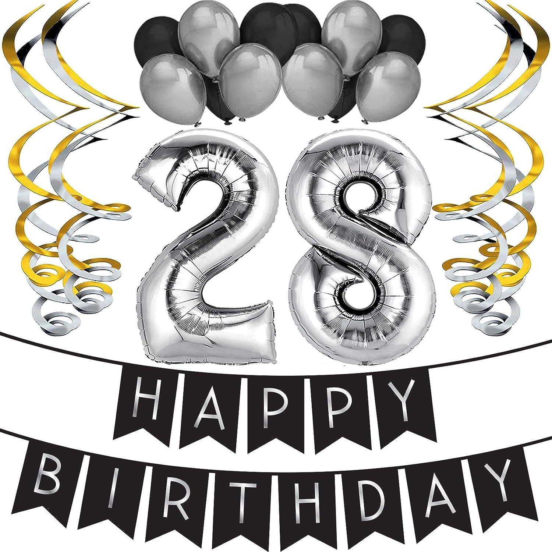 """Sterling James Co. Paquete para Fiesta de Cumpleaños Número 28 """"Happy Birthday""""- Paquete con Banderín de Feliz Cumpleaños Negro y Plateado, Globos y ..."""