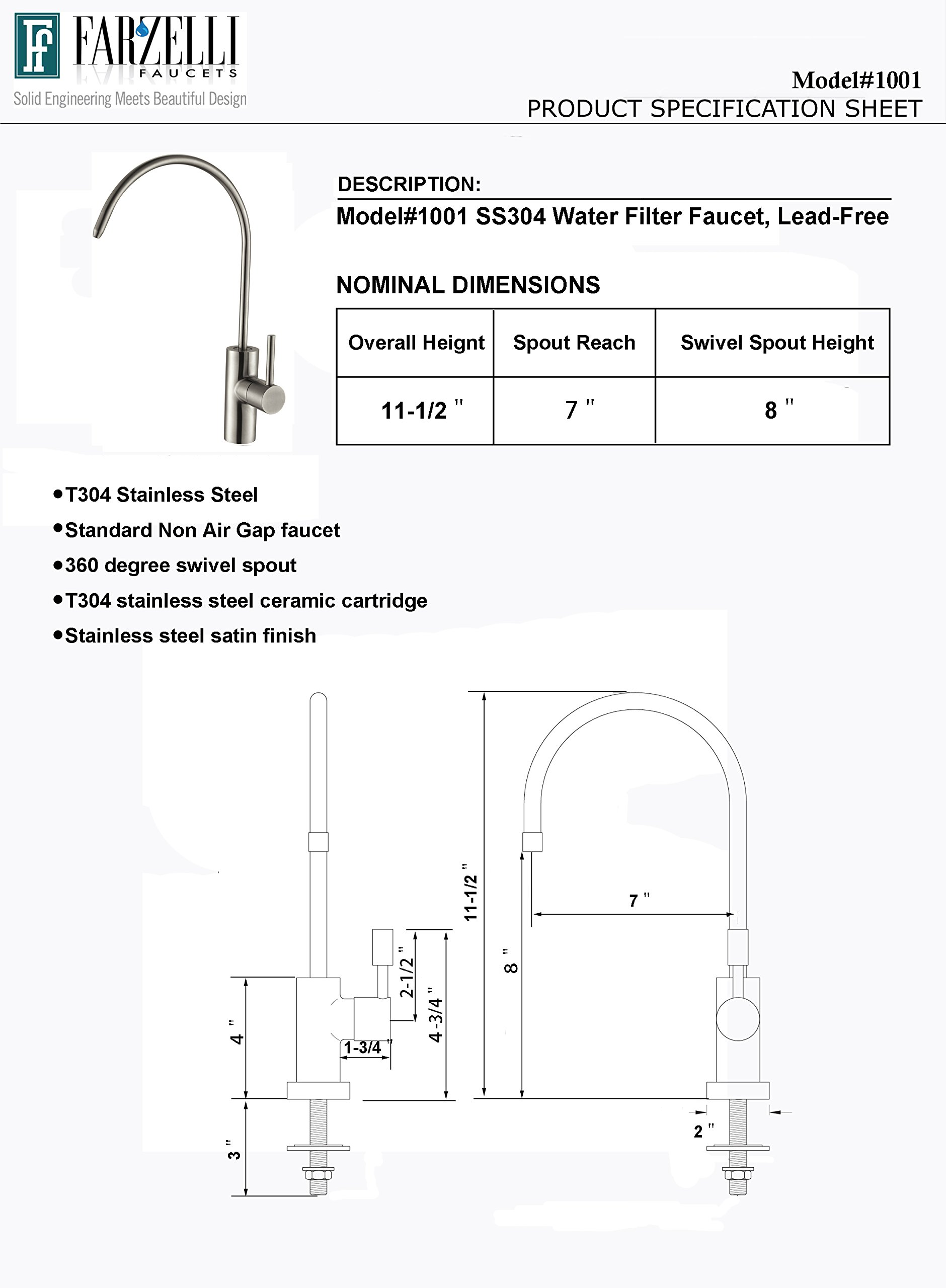 Water Filter Purifier Faucet Lead Free Drinking Water Dispensing Faucet