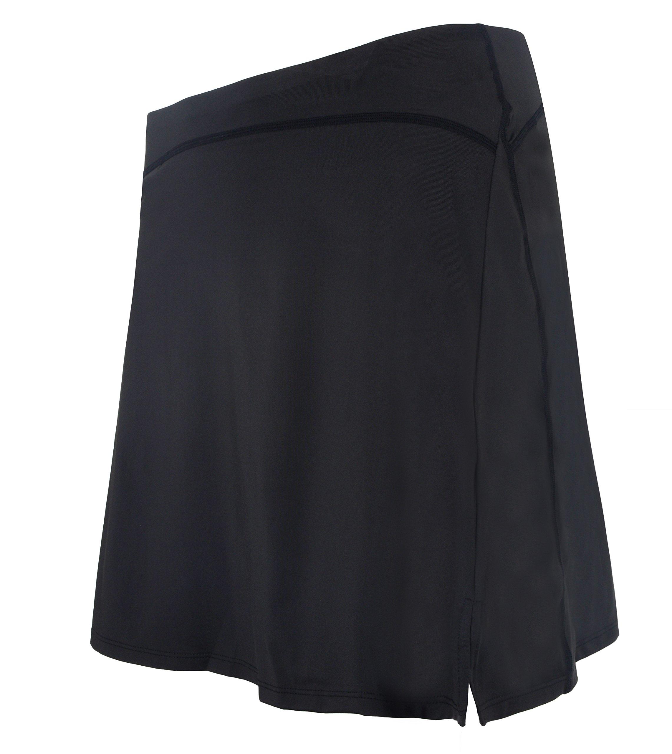 slimour Women Modest Running Skirt Travel Skirts with Pocket Swim Skirt High Waist with Shorts Black M by slimour