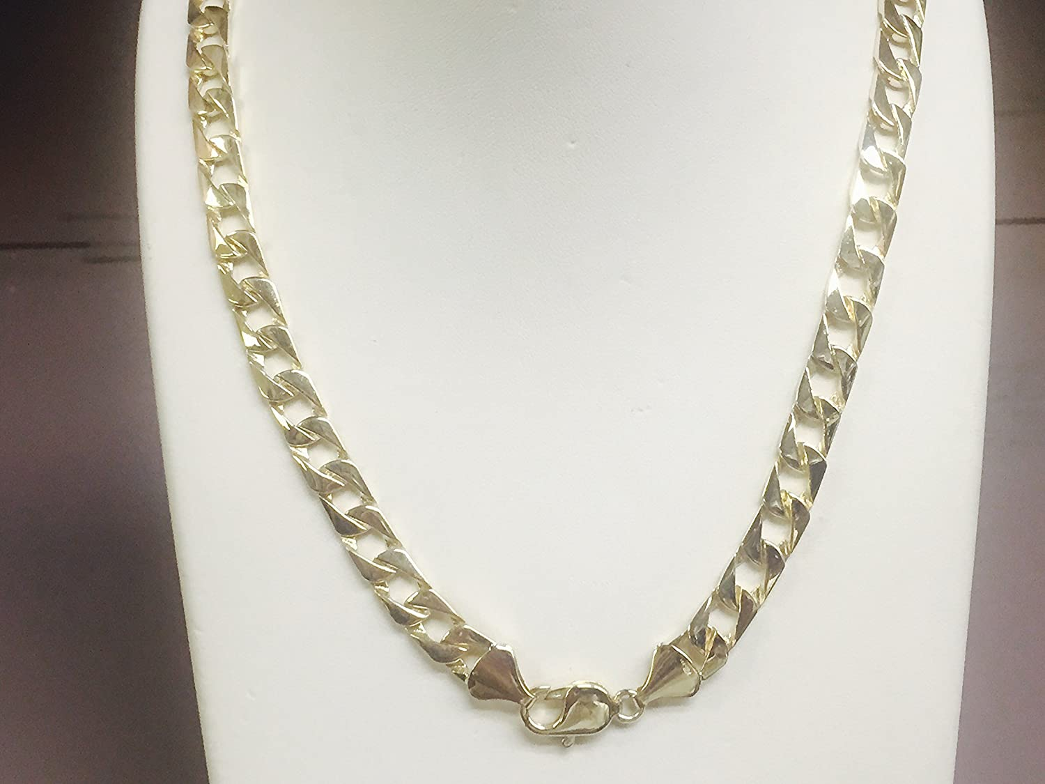 14kt solid gold handmade Curb Link mens Chain/necklace 28\