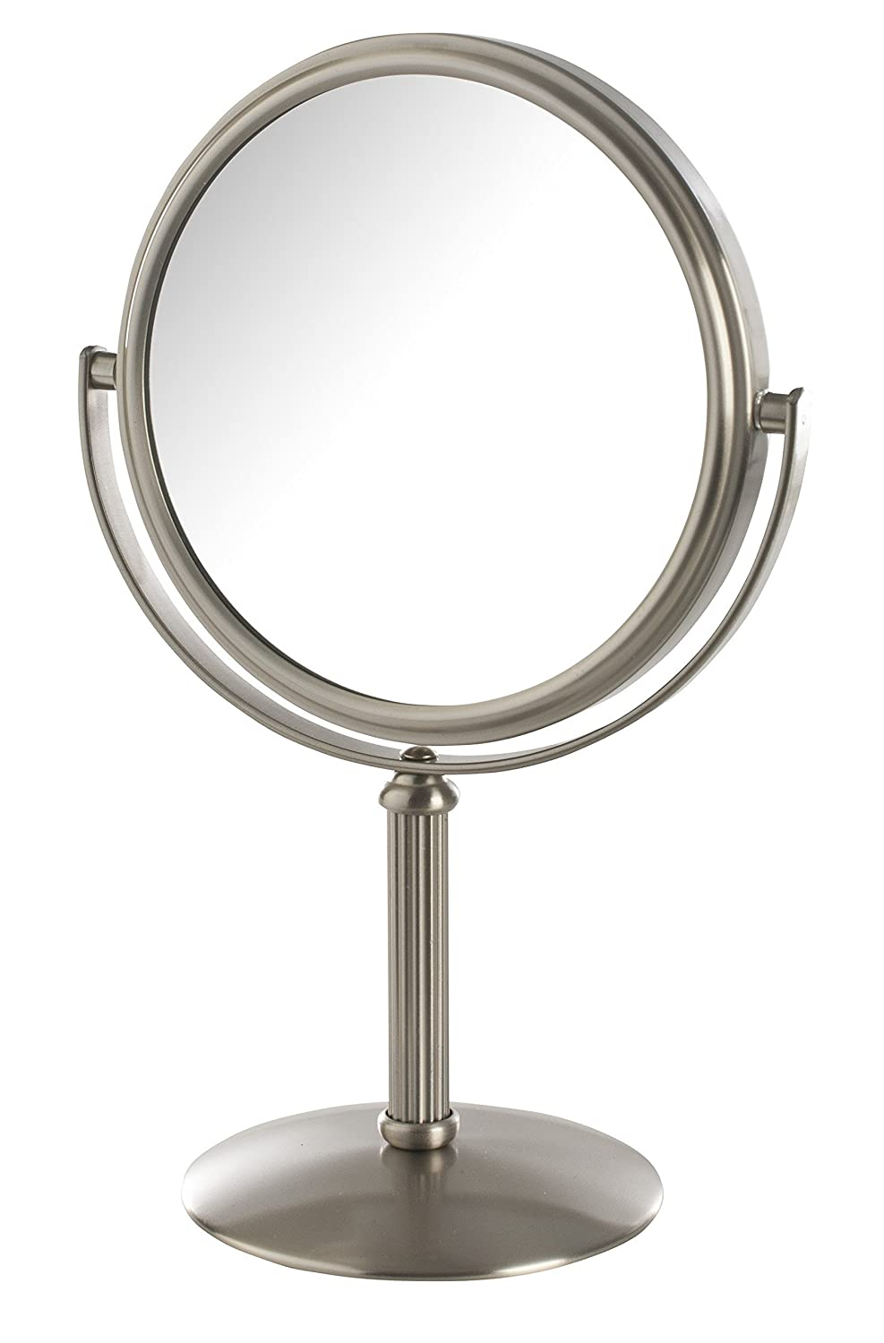 Jerdon MC105N Dual-Sided 5X/1X Magnification Table Top Makeup Mirror, Nickel Finish, 1 Count