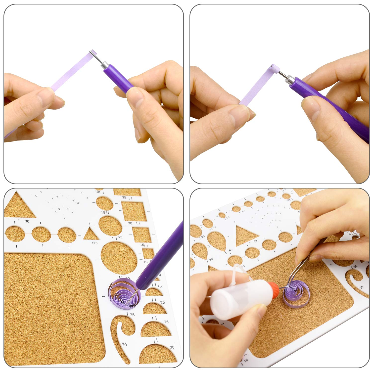 10 Pieces Multifunction Slotted Paper Quilling Tools Kits 2 Sets 5 in 1 Quilling Tools