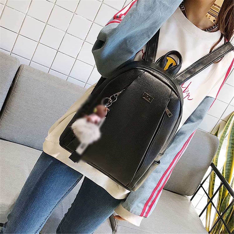 Fashion Leather Women Black Vintage School Bag Solid Backpack Black