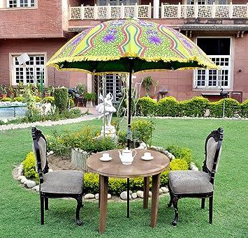 Lal Haveli Decorative Garden Umbrella Outdoor Patio Parasol 52 x 72 Inches