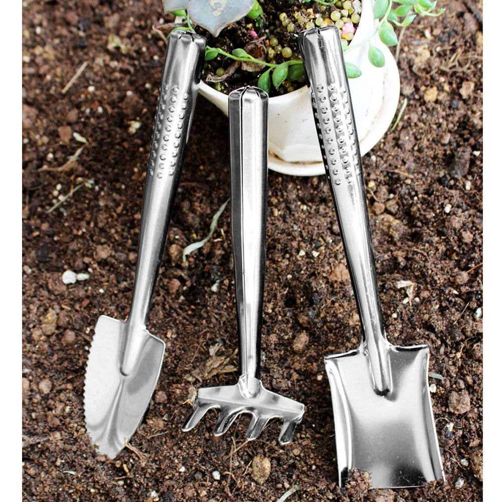 VGoodall 3 Piece Garden Tools Set, Stainless Steel Mini Gardening Kit for Planting and Weeding
