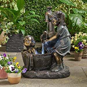 Boy & Girl Garden Statue with Solar Garden Light, Whimsical Flower Bed Outdoor Sculpture Ornaments for Home Yard Garden Lawn Indoor Outdoor Decor,Weather Resistant Resin Statue