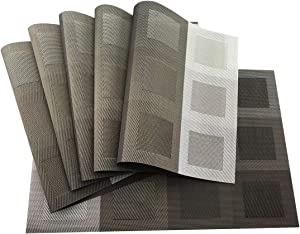 Gugrida Set of 6 Placemats for Dinning Table, Luxury PVC Woven Vinyl Table Mats,Washable and Heat Insulation Kitchen Place Mats (6 pcs, Grey)