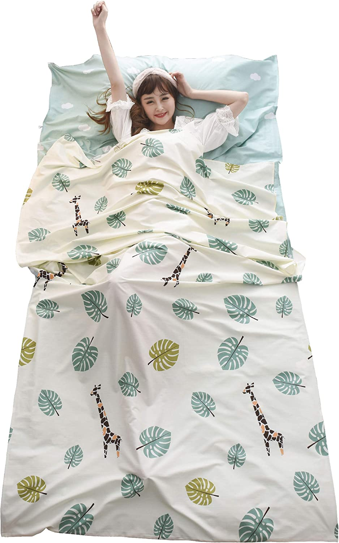 Hotels /& Backpacking Traveling TRIWONDER Sleeping Bag Liner Camping Sheet Travel Sheet Cotton Lightweight Sleeping Sack for Camping