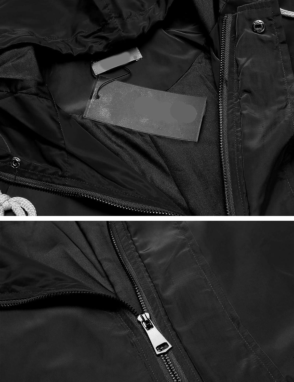 FINEJO Damen Regenjacke Regenmantel Regenparka /Übergangsjacke Funktionsjacke Mit Kapuze Tasche Atmungsaktiv Outdoor Herbst Winter