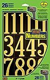 """Hy-Ko Products Números y letras de vinilo autoadhesivas, Números de 7.62 cm (3 pulgadas), 3"""" High, Negro/Dorado"""