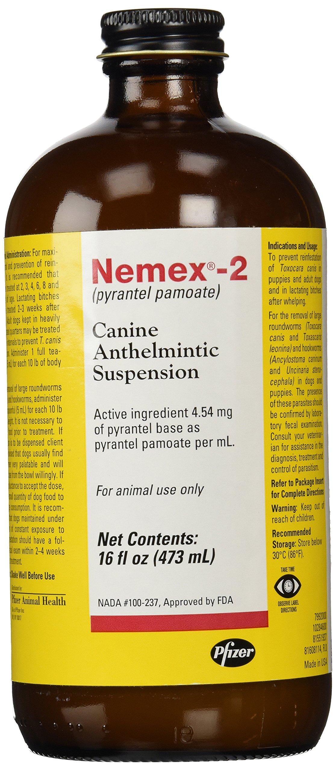 Nemex Pfizer 2 Canine Anthelmintic Dog De-Wormer, 16-Ounce by Nemex